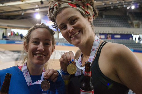 Medallists Sarah Faith and Charlotte Pigg celebrate